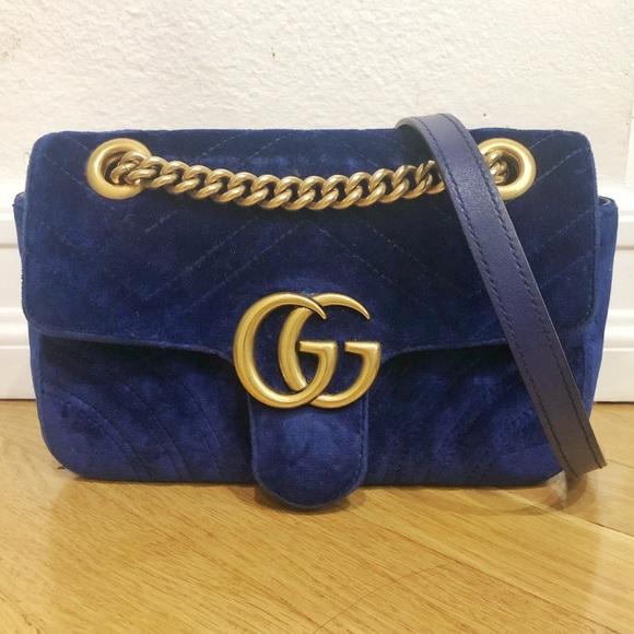 57f1942f3 Gucci Bags | Gg Marmont Velvet Mini Bag Cobalt Blue | Poshmark